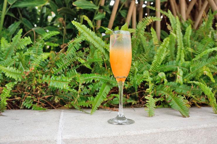 フラワー&バーリーのWaikiki Royal($5)。ジンにフレッシュレモンジュースやリリコイをプラスしてほんのり感じる酸味が特徴
