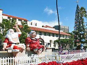ハワイのクリスマスに染まるダウンタウン【ホノルル・シティ・ライツ】【HASRビストロ】