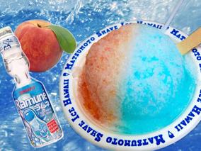 夏にぴったり!ラムネ&ピーチのカキ氷
