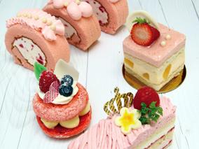 2月のケーキは「ピンク」が主役