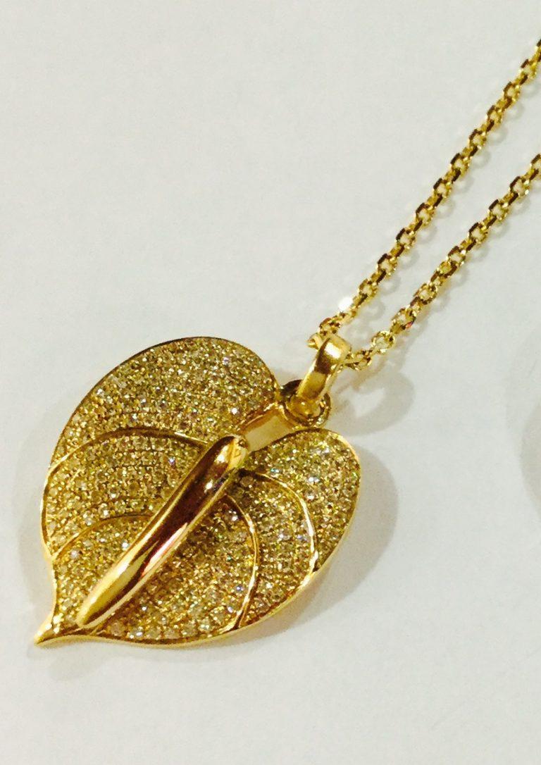 アンスリウム・ダイアモンドペンダント