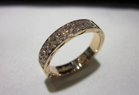4mm幅ピンクゴールドダイアモンドリング