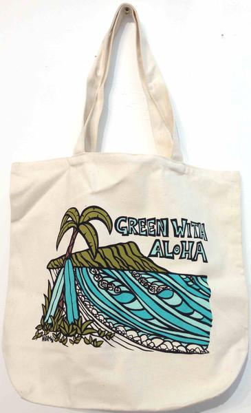 ヘザーブラウンのトートGreen With Aloha