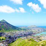 ココクレーター(左)とココヘッド(右)と水の街ハワイカイ