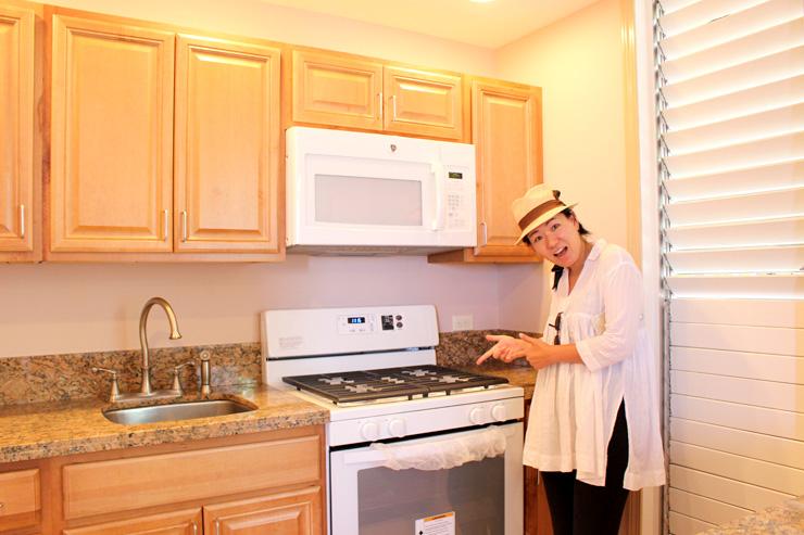 新品の電気コンロ。電子レンジやオーブンもビルドインのフルキッチン。
