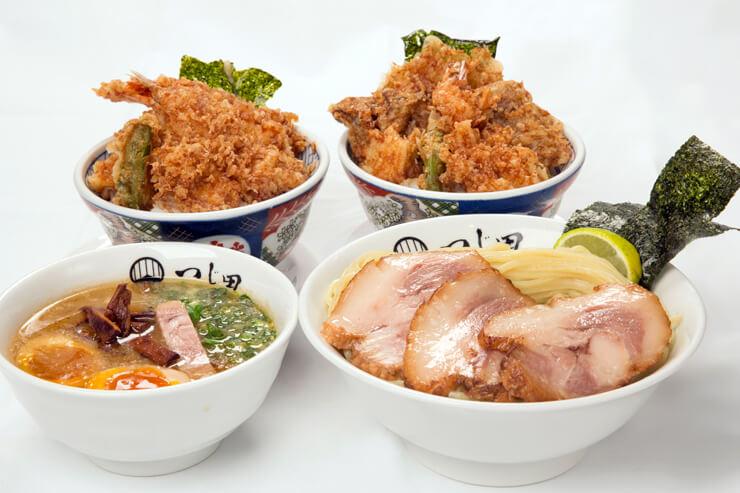 金子半之助×つじ田:天丼2個、つけ麺大盛り