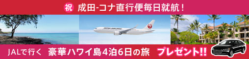 JAL直行便で行く!ハワイ島4泊6日旅行プレゼント