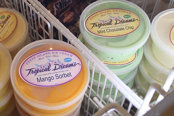 アイスクリームは「トロピカルドリームス」のもの。もちろんハワイ島産。