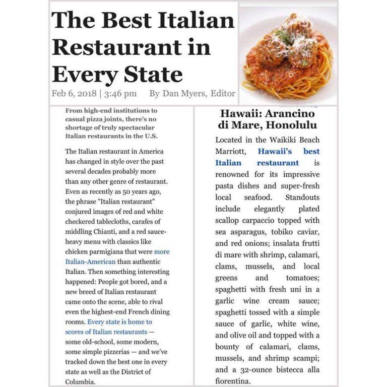 全米一のイタリアンレストランとして紹介されました!
