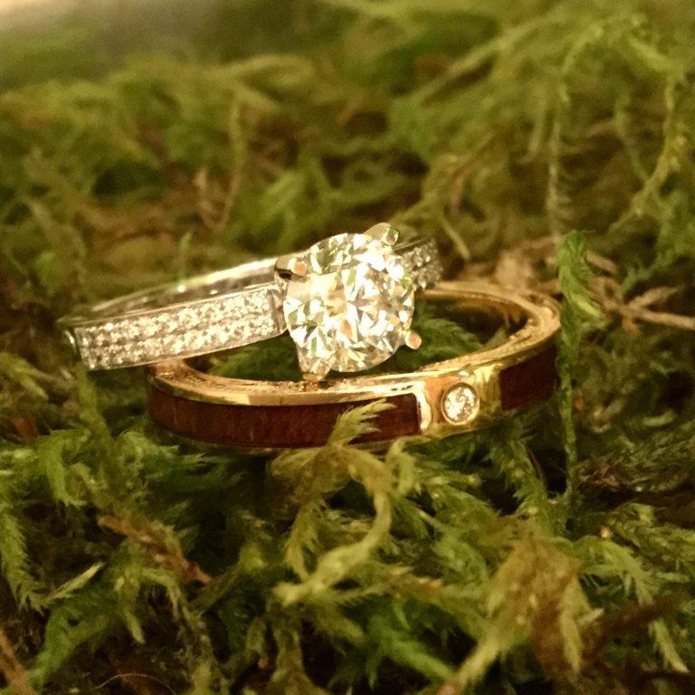 コアウッド入り結婚指輪でお洒落に