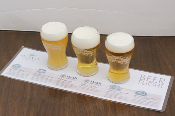 ドラフトビールのお試し(ビール150mlを3杯):$5