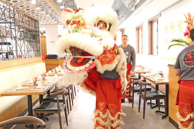 店内を練り歩く中国獅子。