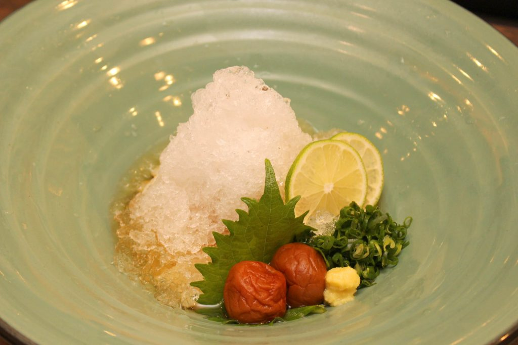 梅しそのかき氷おうどん(ハワイ店限定):$13