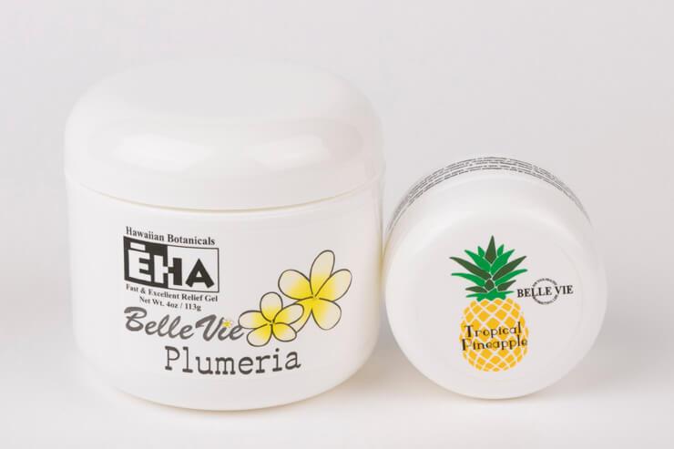 アワプヒ、ノニ、ポポロなどハワイ原産の薬用植物を使用した 腰痛、関節痛緩和ジェル「EHA」$33(ミニサイズは $6)