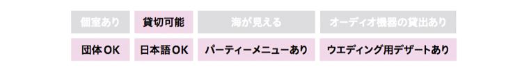 貸切可能、団体OK、日本語OK、パーティメニューあり、ウエディング用デザートあり