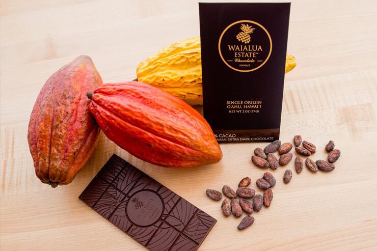 カカオニブ入りの4種類のチョコレート 各$10