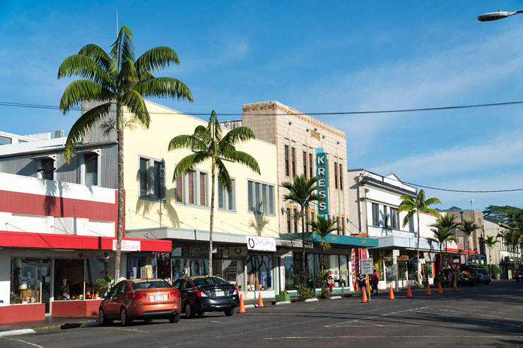 ハワイ島ヒロ・ダウンタウンの街並み