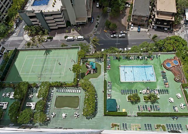 【ワイキキバニヤン】テニスコートやBBQなど共用設備が充実!