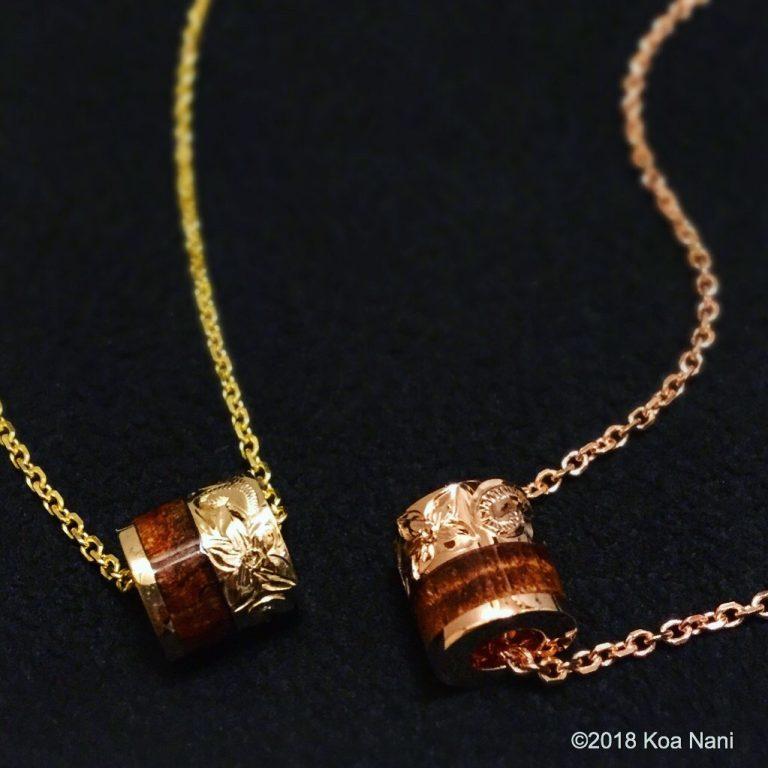 ハワイ産コアウッド使用・ゴールドバレルペンダント
