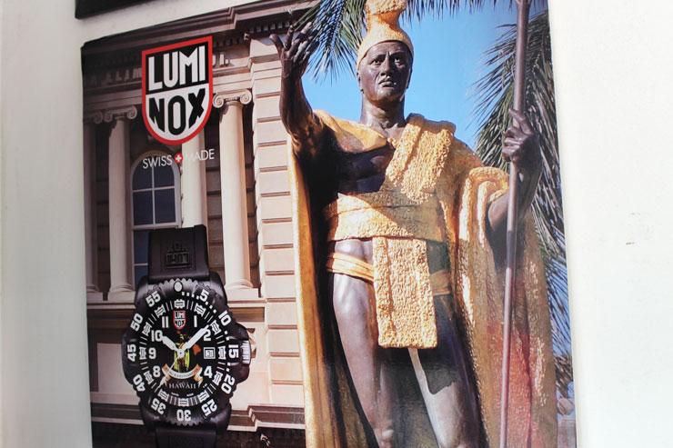 「ナ・プア・ジュエリー」のハワイ限定ルミノックス時計にはカラカウア王の絵が。