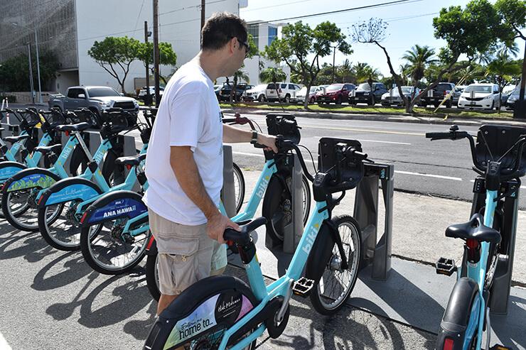 bikiステーション操作手順⑭ 自転車を取り出す。