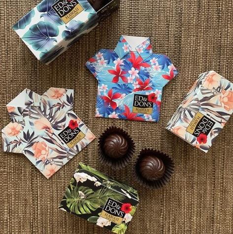 各個箱がアロハシャツに変身する不思議なチョコレート!