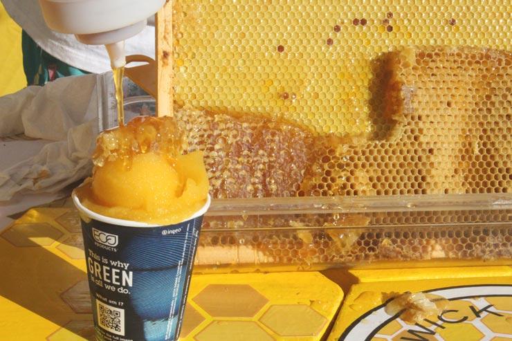 フルーツと100%オアフ島産のハチミツで作ったスラッシュ(シャーベット状のドリンク)