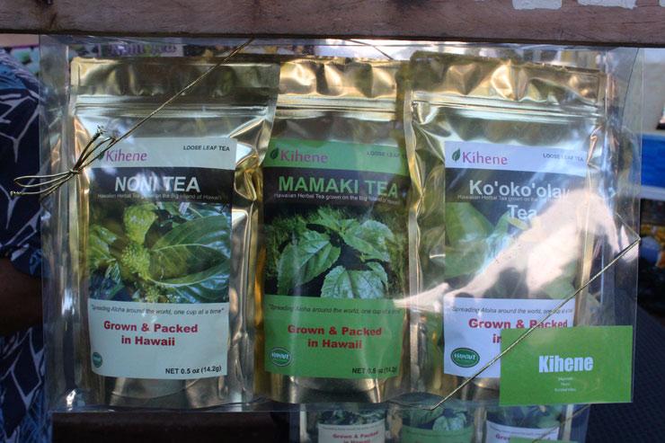 セレブの間でも人気の健康茶(左から、ノニティー、ママキティー、コウコウラウ)