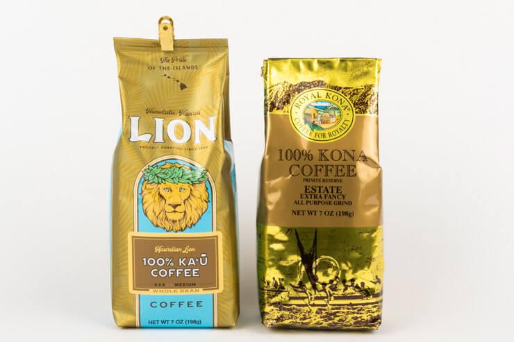 ライオン・コーヒー「100%カウ」:$19.95(写真左)、 ロイヤル・コナ「100%コナ・エステート」:$23.99(写真右)