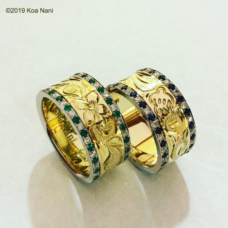 宝石エメラルド・サファイア、ダイアモンドと彫刻リング