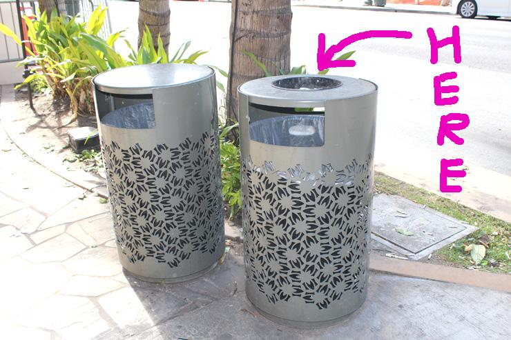 ハワイの灰皿とゴミ箱