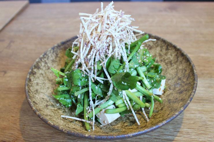 スミダファームクレソンとアロハ豆腐のサラダ($9)