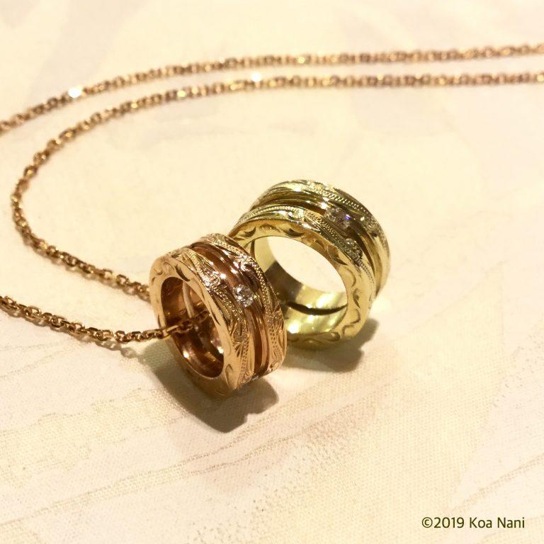 ダイアモンド付きゴールドサークルペンダント