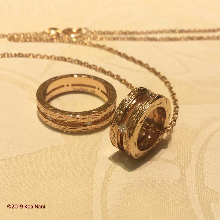 一生物のゴールドダイアモンドバレルとリング