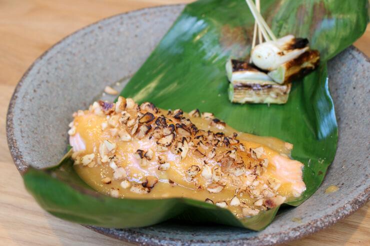 サーモンの西京味噌焼き マカダミアナッツクラスト