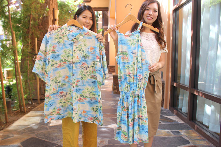 アウラニのメンズアロハシャツ:$80、レディースワンピース:$85