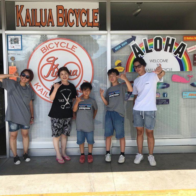 家族でサイクリング(カイルア)