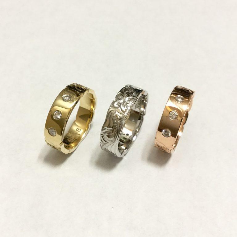 3ダイアモンドと彫刻リング