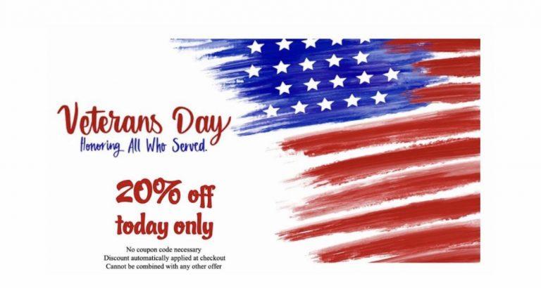 20%off Veterans Day