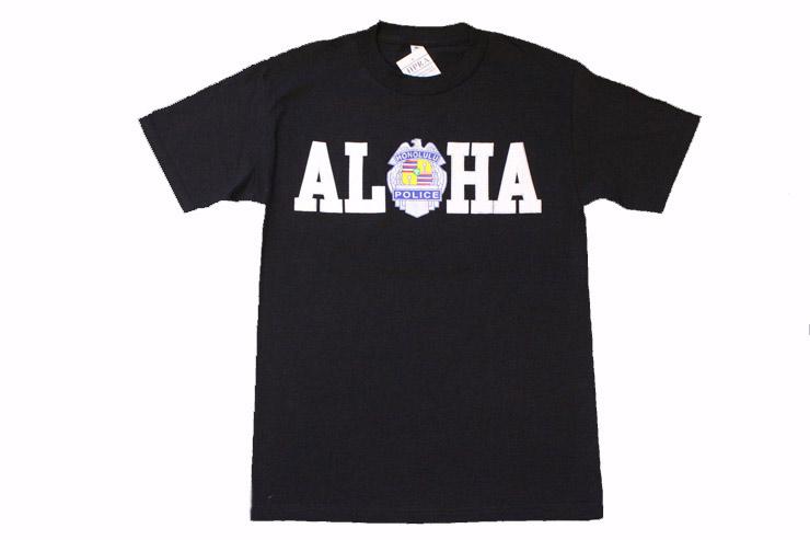 紋章とアロハのロゴをあしらったTシャツはおみやげにも最適