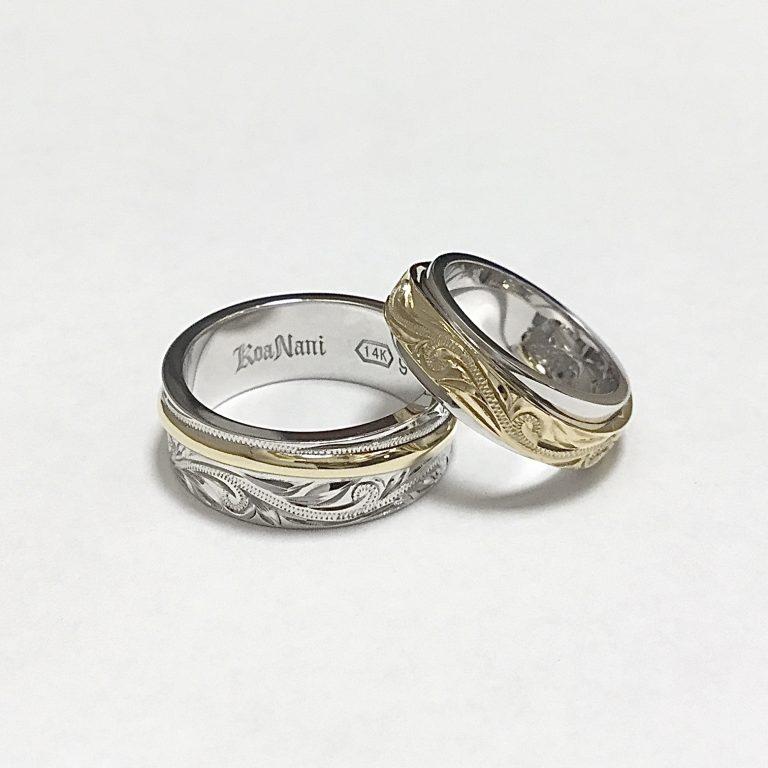 ホワイトとイエローゴールドの美しいリング
