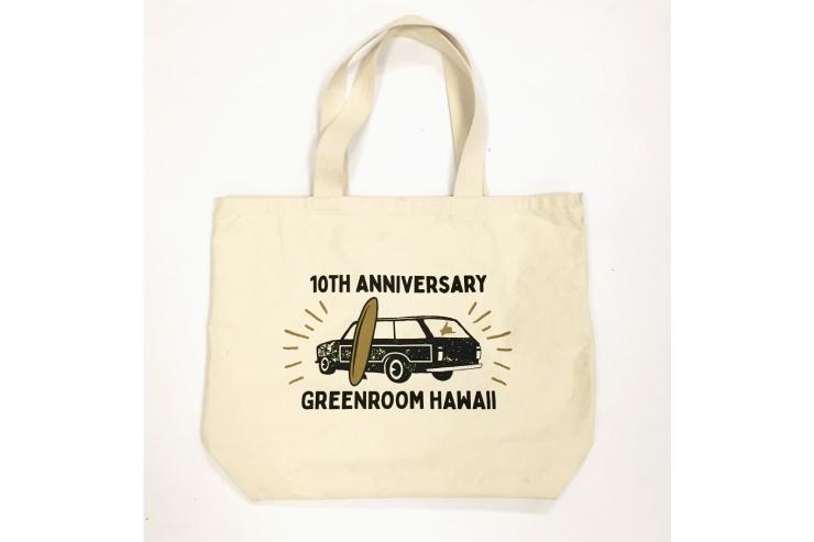 ハワイのグリーンルーム 10周年記念トートバッグ