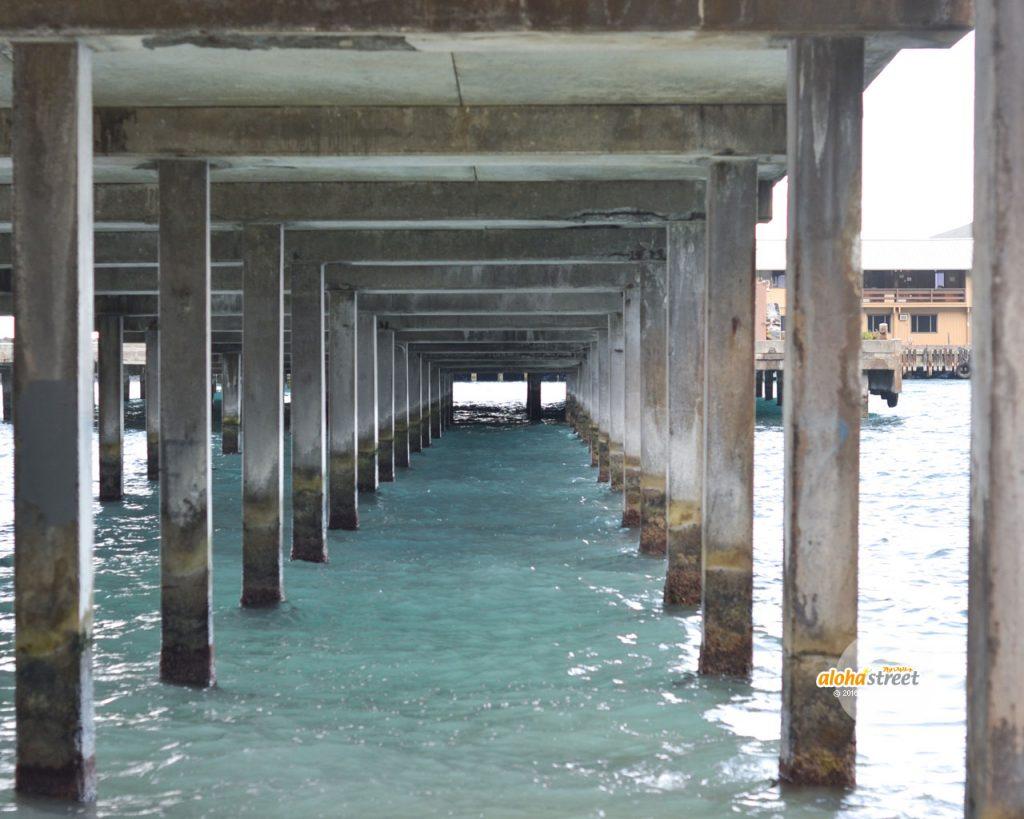 橋の下で静かに波打つハワイの海