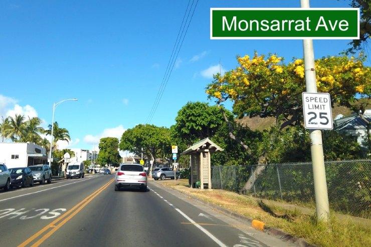 カラカウア大通りからモンサラット通りへ